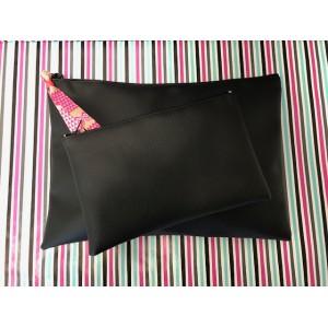 Trousse Simili Cuir Noire à zip 12 x 20