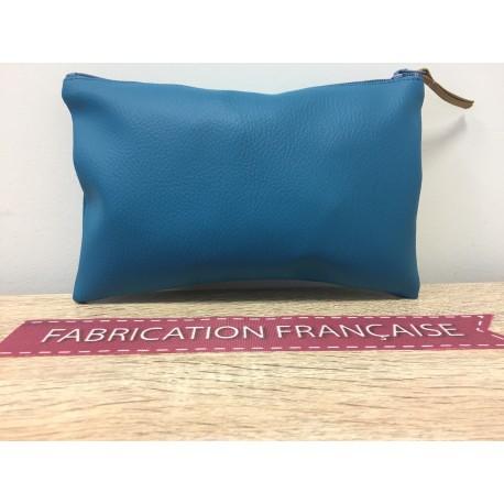 Trousse De Toilette Petit Format Simili Cuir Turquoise à zip 12 x 20