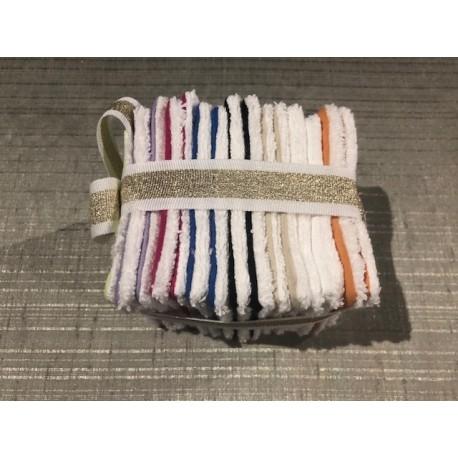 Lot de 15 lingettes démaquillantes lavables réutilisables Unies 8 couleurs différentes 10 x 10 cm