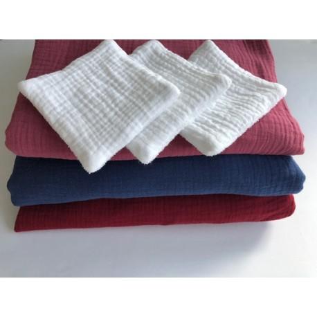 Lot de lingettes démaquillantes lavables réutilisables 10 x 10 cm Pois bleus