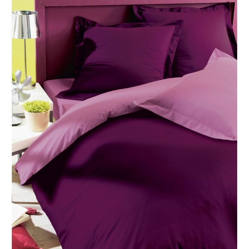 parure de lit prune mauve housse de couette taies. Black Bedroom Furniture Sets. Home Design Ideas