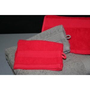 Linge de bain 500 g / m² - Eponge grise et rouge