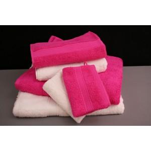 Eponge rose et blanche 500 g / m² 100 % coton