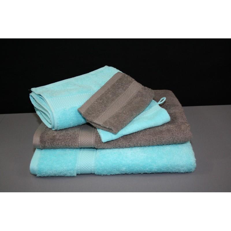Eponge turquoise et taupe 500 g m 100 coton linge de bain fait en france - Turquoise kamer en taupe ...