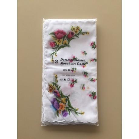 Lot de 12 mouchoirs femme petites fleurs
